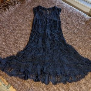 Free People Dresses - Free People Navy Lace Overlay Dress